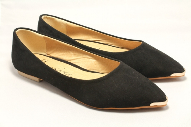Black Faux Suede and Gold Flats (FLATS